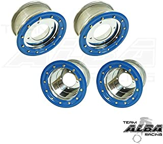 TRX 450R TRX 400EX Beadlock Set of 4 Wheels Rims - Compatible with Honda - Rear 9x8 Front 10x5 4+1 Polished/Blue