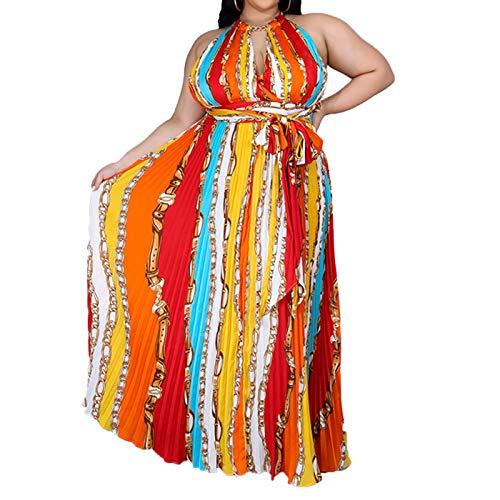 Womens Plus Size Sleeveless Halter V Neck Wrap Dress Spaghetti Strap Beach Boho Tropical Summer Maxi Dress Red 2XL (Apparel)