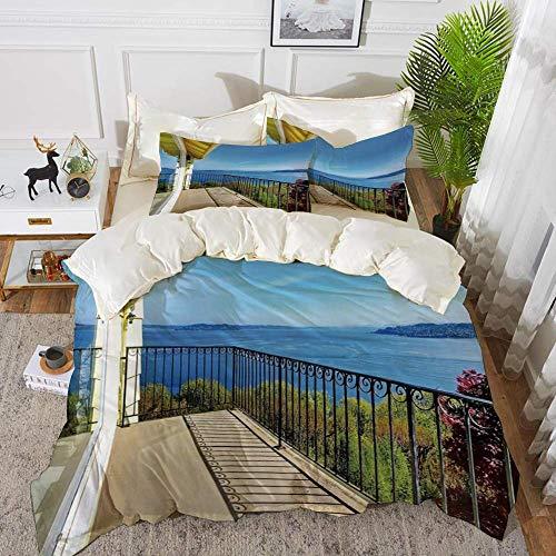 161 Modern Decor,House Balcony in Summer Sunny Day Ocean Seascape Art Photo,Light Brown Blu,Hypoallergenic Microfibre Duvet Cover Set 260 x 220cm with 2 Pillowcase 50 X 80cm