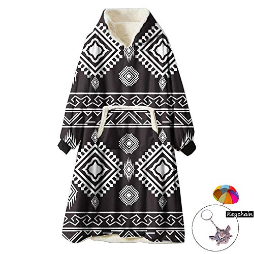 Zuichu Wearable Blanket Pullover bedrukt zwart van zachte polyestervezels voor mannen en vrouwen TV (één maat, met sleutelhanger)