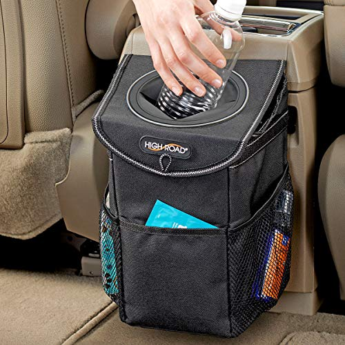 litymitzromq Durable Household Kitchen Trash Can,Creative Mini Auto Push Trash Can Holder Rubbish Bin Storage Box Car Accessories Black