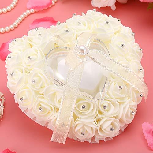 Hochzeitskissen, leichtes, langlebiges, herzförmiges Designetui, Wohnzimmer für das Home Office für Hochzeiten(Milky...