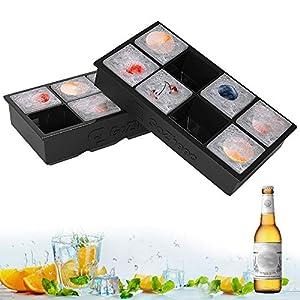 GoZheec Bandeja De Hielo De Silicona, [2 Pack] 16 XL cubitera Hielo Molde para Hielos, Bandeja de Cubitos de Hielo para Congelarse Alimentos para Bebés, Cola,Cócteles Cola Whisky…