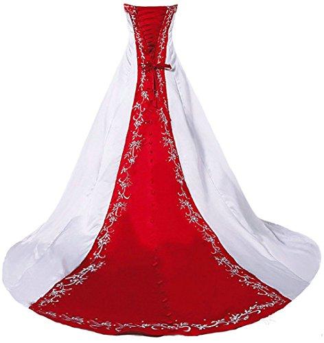 Vantexi Damen Trägerloses Stickerei Brautkleid Hochzeitskleider Weiß Rot 34