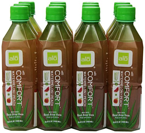 ALO Comfort Aloe Vera Juice Drink Watermelon Plus Peach 169 Ounce Pack of 12 CaneSugar Sweetened AloinFree No Artificial Flavors Preservatives or Colors Gluten Free Vegan