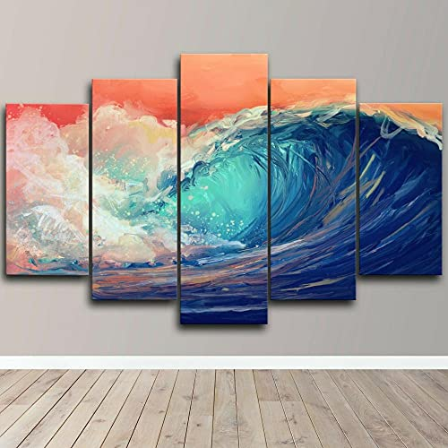 Quadro Moderno Onda d'Arte Astratta dell'onda del Mare Stampa su Tela - Quadro x poltrone Salotto Cucina mobili Ufficio casa - Fotografica Formato XXL
