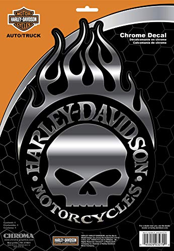 CHROMA 003279 Harley-Davidson Skull Classic Emblem Decal, 1 Pack