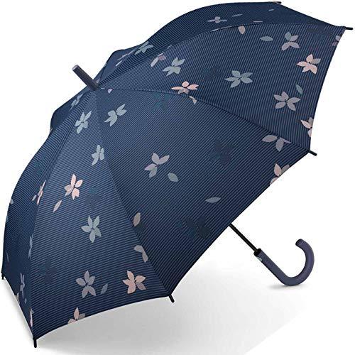 Esprit Stockschirm Long AC Flower Rain - Blue