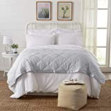 Lightweight Twin Goose Down Alternative Quilted Blanket with Satin Trim. Romana Collection by Home Fashion Designs, High Rise Grey