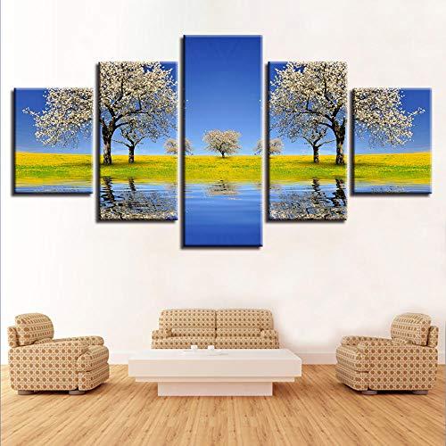 Decoración de pintura mural 5 bellas imágenes de peral y río y campo de hierba verde paisaje lienzo modular