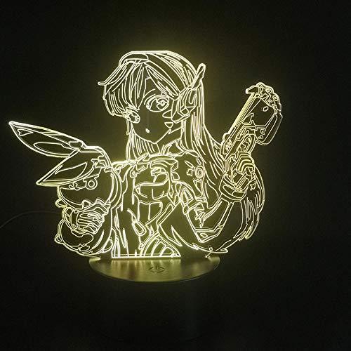 Lâmpada 3D de personagem do jogo, luz noturna, operada por bateria, personagem colorido, decoração de quarto, efeito de luz visual, LED, luminária noturna para decoração de casa HOICHAN Weiej