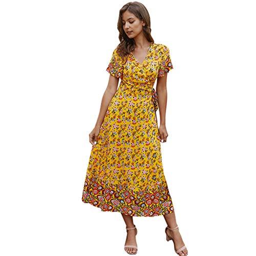 XOXSION Vestido de playa floral Prin tVintage para mujer, manga corta, cuello en V, sexy, elegante, largo hasta la rodilla