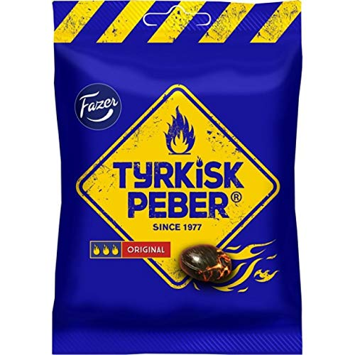 ScandiKitchen, Fazer Tyrkisk Peber Original, dulces finlandeses de regaliz duros hervidos con centro de polvo de regaliz salado, 120 g