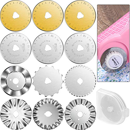 12 Pieces Rotary Cutter Blades Replacement Rotary Blades Round Trimmer Refill Blades in 45 mm Compatible with Fiskars Olfa Rotary Cutter for Quilting Cutting Sewing Crafts, 8 Types