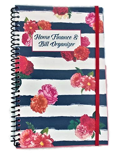 Home Finance & Bill Organizer with Pockets (Flowers on Black Painted Stripes))