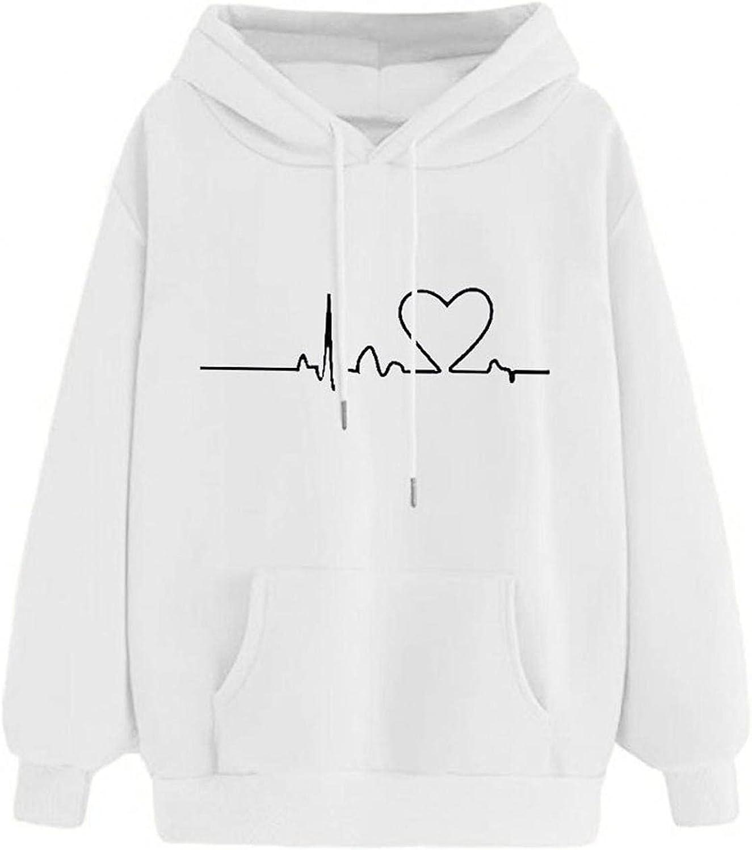 Womens Hoodies, Womens Faith Graphic Hope Love Heartbeat Pattern Long Sleeve Sweatshirt with Pockets Sweatshirt