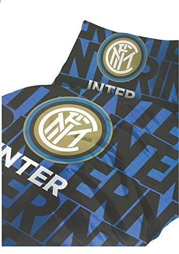 hermet Parure Sacco Copripiumino Letto Singolo 1 Una Piazza Ufficiale Inter FC Nero Azzurro 100% Cotone Sacca + 1 Federa
