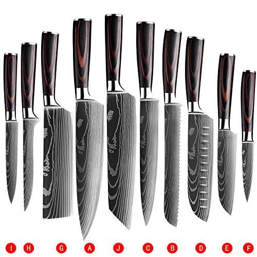 Soffiya Kitchen Knife Sets 10 piece, Chef Knives...