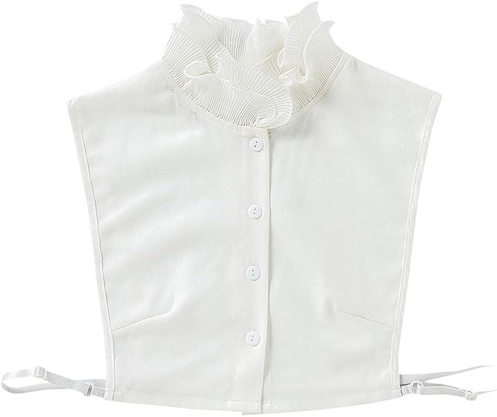 YOUSIKE Neck Chain, Women Girls Sweet Double Layer Agaric Ruffles Stand Fake Collar Button Down Chiffon Bottoming Sweater White Detachable Half-Shirt Blouse