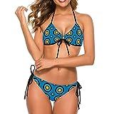 Women's Fashion Two Piece Bikini Set Low Waisted Swimsuit Adjustable Halter Bathing Suit, Archery Target Colorado Circular Blue