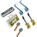 Tomaibaby 8 Piezas Inflables Rockstar Toy Set Guitarra Saxo Teclado Micrófono Radio Música Instrumento Juguete para Concierto (Color Aleatorio)
