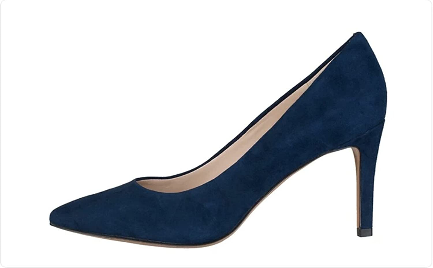 Nansay Women's Stiletto Mid Heels Big Size Pumps Women's Suede shoes Solid Pointed Toe Pumps for Dress