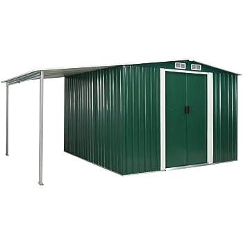 UnfadeMemory Caseta de Jardín Exterior con Techo Extendido y Puertas Correderas,Cobertizo de Metal,Acero Galvanizado (Verde, 386x259x178cm): Amazon.es: Hogar