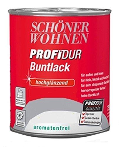 Schöner Wohnen Profidur Buntlack, Feuerrot RAL 3000 / hochglänzend / 750 ml / aromatenfrei / für außen u. innen / für Holz, Metall u. Kunststoff