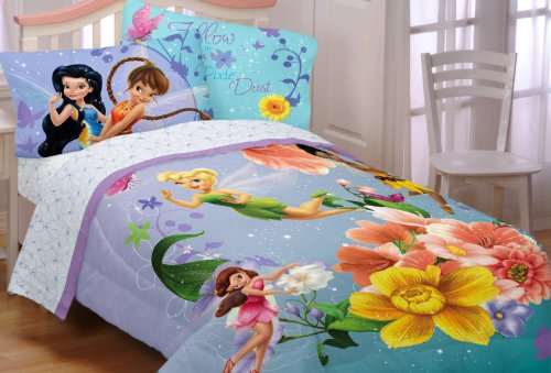 Blue Tinkerbell and other Disney fairies bedding set