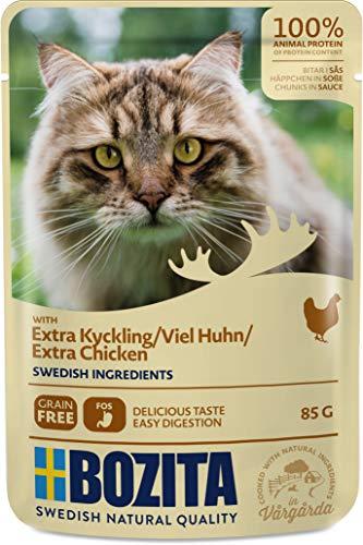 BOZITA Nassfutter Häppchen in Soße mit viel Huhn 12x85g Pouch Portionsbeutel - getreidefrei - für erwachsene Katzen