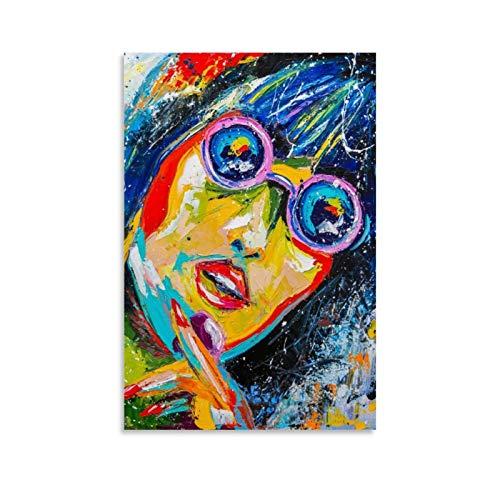 wangzhe Póster decorativo de niña en gafas de sol de 20 x 30 cm