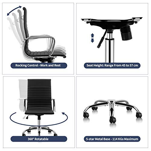 Mastery Mart High Back Office Chair, Ribbed Soft Upholstery Task Chair, Management Swivel Chair, Mid Century Modern Desk Chair with Armrests for Executive, Conference, Home Office