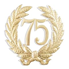 One beautiful Dresden Party Anniversary Jubilee number 75,Perfect as wall decoration or for gifting Embossed gold foil on both sides Made in Germany