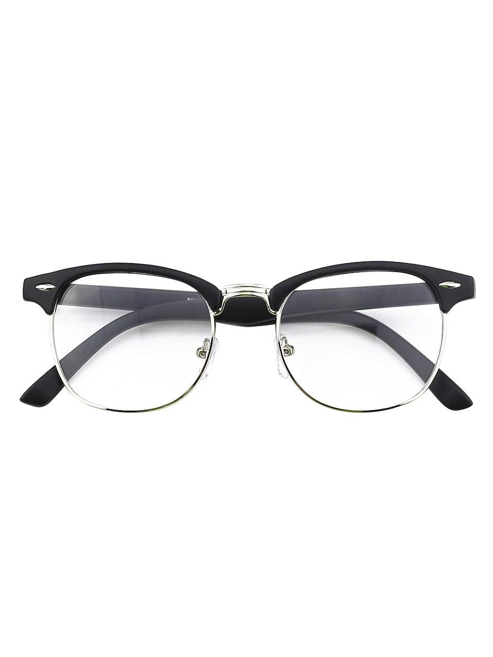 GQUEEN 201556 Vintage Inspired Half Frame Clear Lens Glasses