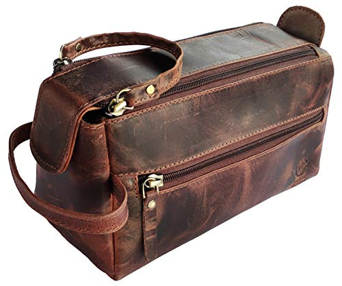 Leather Toiletry Bag for Men - Hygiene Organizer Travel Dopp...