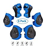 COOLGO Child Kids Protective Gear Set, Knee Pads Elbow Pads Wrist Guards 6 pcs for Multi Sports Skateboard Inline Roller Skates Cycling Biking BMX Bicycle (Blue)