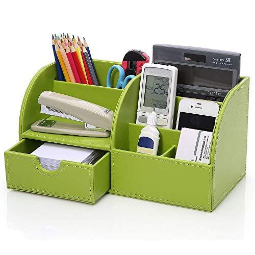 WOF Schreibtisch-Organizer aus Leder mit 7 Fächern, für Büro 28,00 x 14,50 x 14,50 cm grün