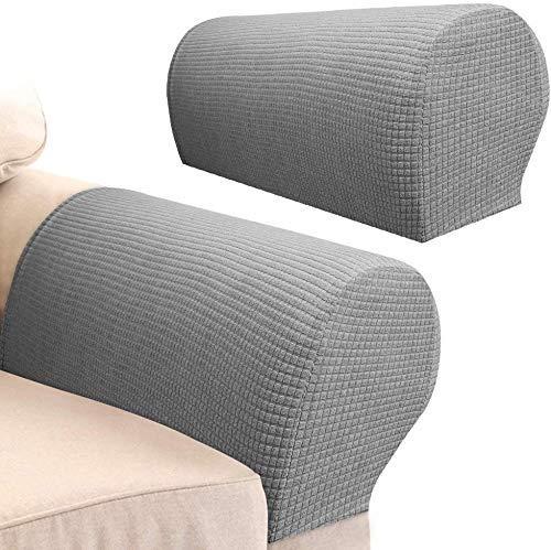 4 STK. Elastische Armlehnenbezüge, Armkappen, für Sessel, Sofa, Sessel, Couch Stretchy Armlehnenbezug, bequem, elastisch, wasserfest, Couch Armlehnenschoner (hellgrau)