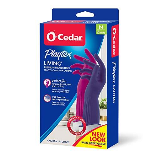 Playtex Living Combo Set Purple and Blue Drip Catch Medium Latex Gloves, 2 CT