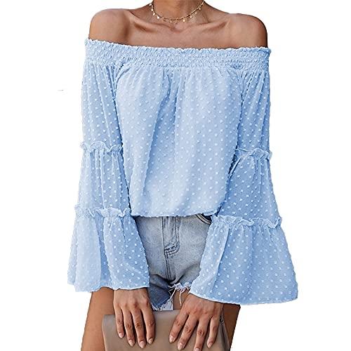 Mayntop Camiseta para mujer para tops de gasa con hombros descubiertos y manga acampanada