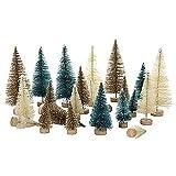 lulalula Mini árbol de Navidad con base de madera, 24 unidades para decoración de habitación, decoración de la mesa del hogar