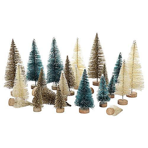 lulalula 24 Stück Mini-Sisal-Bäume mit Schnee- und Frost-Deko, Flaschenbürsten, Weihnachtsbaum, Mini-Kiefer mit Holzsockel für selbstgefertigte Raumdekoration, Heim-Tischdekoration