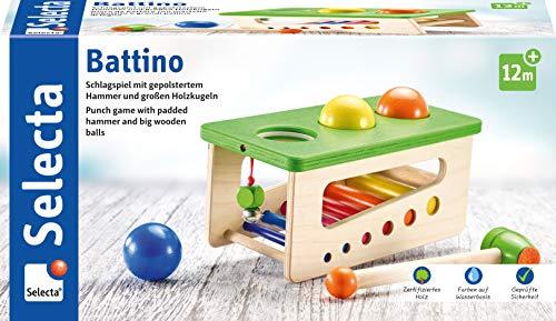 Selecta 62017 Battino, Klopfbank aus Holz, 22 cm, bunt