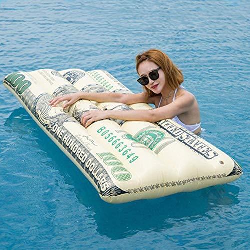 QUUY Piscina hinchable de PVC grueso con patrón de dólar, 165 x 70 cm, plegable, colchón de aire multiusos, para piscina, tumbona de aire
