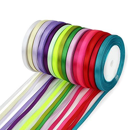 Crazy-m 350Yards/320M Satinband (0,6 cm) 14 Farben Seidenbänder Seidenband Schleifenband Hochzeit Dekoband Satin Geschenkband Stoffband zum nähen Weihnachtsband Weihnachtsbänder