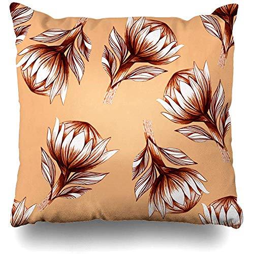 Tommy Warren Fleur Crayon Motif Protea Main Graphiques Naturel Style Mascara Tropical Nature Textures Nstock Housse De Coussin
