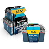 Rayovac Alkaline Battery Combo Pack AA 30-Pack, AAA 54-Pack, 9 Volt 8-Pack