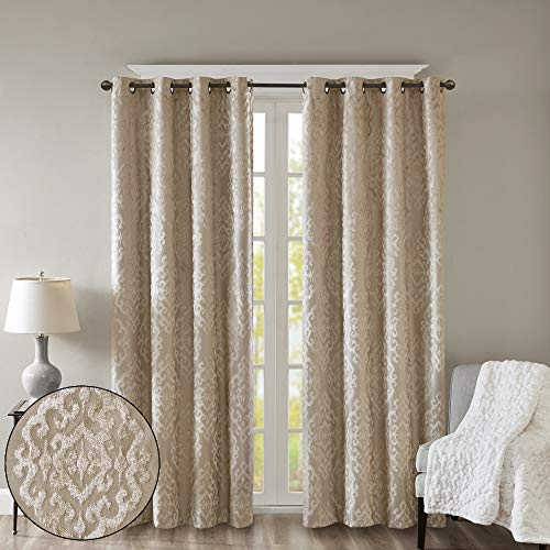 SUNSMART Mirage 100% Total Blackout Window Curtain, Knitted Jacquard Damask Room Darkening Curtains Panel with Grommet Top, 50x108, Champagne