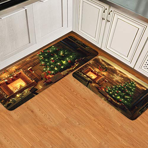 Kitchen Rugs Set of 2 Christmas Tree and Fireplace in the House Kitchen Rugs and Mats Non-slip Washable Low Profile Doormats Home Decor Indoor Floor Mats for Entryway Sink Stove Kitchen Office