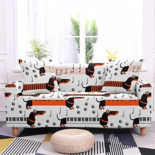 Funda Sofás Elástica 4 Plazas Perro Animal Piano Funda de Sillon Impreso Fundas de Sofa Ajustables Antideslizante Poliéster Funda Protector de Muebles Sofá Decorativa Universal